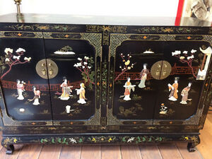 Authentic Hand Painted MOP Black Lacquer Chinese Hutch - Antique