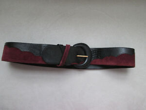 Leather and Suede Belt Made in Italy Ceinture en suede Italie