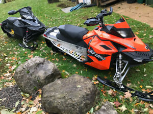2008 & 2010 Skidoo MXZ XP 800R with Triton trailer.