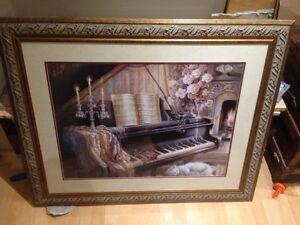Grand cadre avec piano antique