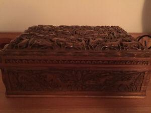 Unique Hand-carved Walnut Jewelry Box