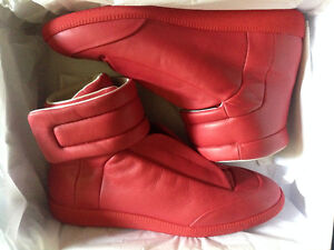 MAISON MARGIELA RED LEATHER FUTURE HIGH TOP SNEAKERS