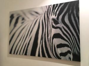 Black and White Ikea Zebra painting / Wall Art