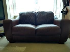 Leather settee 2 seater dark walnut.