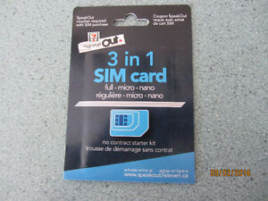 BRAND NEW Sim card for cell phone 3 in 1. Full Micro Nano