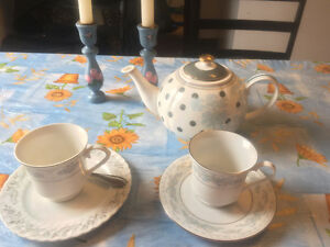 Tea pot and cups-candlesticks and Vase for free