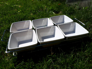 White and chrome serving dish