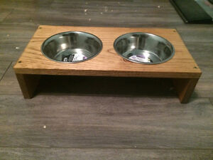 Hand made pet feeding stations