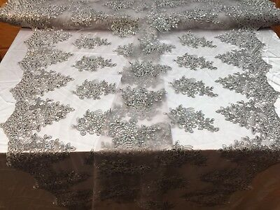 Lace Fabric Corded Flowers Embroidery With Sequins For Dress Silver By The Yard