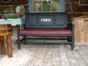 bench constructed from an original 1948 Ford Pickup tail gate