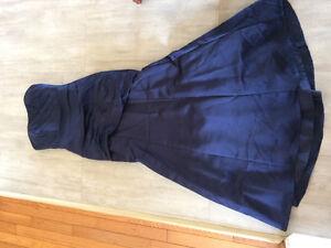 David's bridal satin gown - navy blue