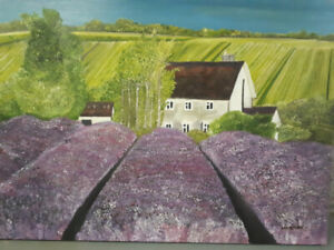 Beautiful oil painting of lavender farm