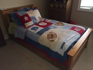 Solid Pine Trundle Bed with Mattresses