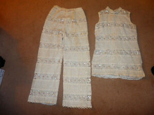 Vintage from the 60's beaded/laced 2 piece outfit SIZE SMALL 0/1