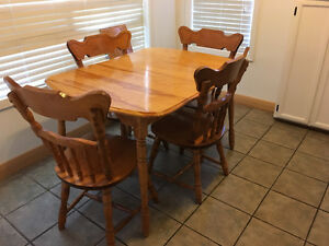 Birch table & 4 chairs