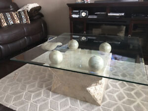 Modern glass coffee table and end table