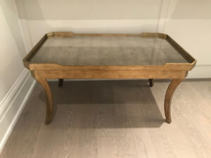 BRASS COFFEE TABLE WITH ANTIQUE MIRROR TABLETOP