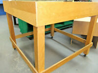 4 foot wood utility tables/ on wheel