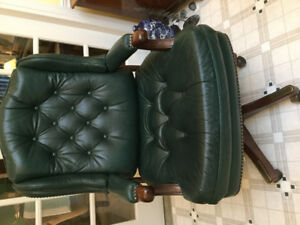 Genuine leather green high back swivel chair