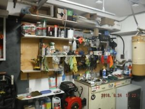 Shop basement shelving & power tools