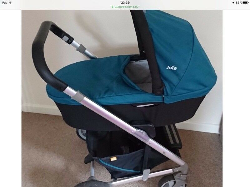 Joie chrome teal/jade travel system with isofix base, pram, carry cot and Gemm car seat