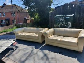 4. 3+2 cream leather sofa