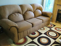 Brown love seat, couch combo
