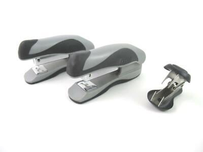 Two Gray Plastic Mini Hand Held Staplers And Staple Remover Office Supplies