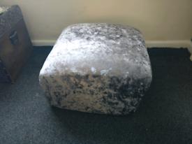 Large Grey Velvet Footstool