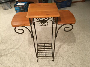 Metal and Wood Plant Stand