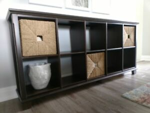 Shelving unit / Bookcase, dark wood finish
