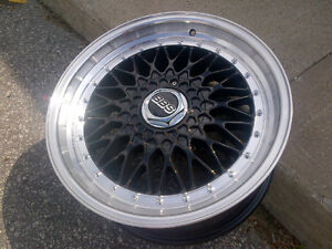 """NEW 18""""BBS RS staggered reps (5x100/5x114)- black + polished lip"""