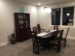 Beautiful Solid Hardwood Dining table -6 chairs & China cabinet