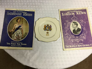 Coronation plate with London news magazines