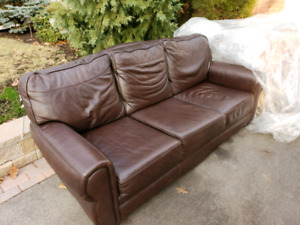 Dark Brown Leather Couch - gently used (no noticable damage)