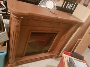 Electric Fireplace Heater - Brown Mantel