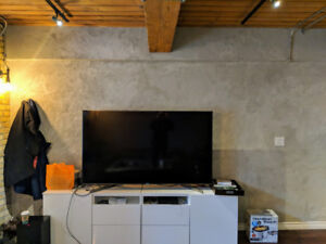 Large modern TV stand console with cabinets