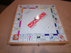 Deluxe Monopoly/Clue board games in Wood Case