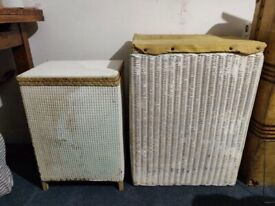 Two wooden vintage baskets
