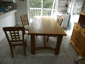 Kitchen Table and Hutch Solid Pine
