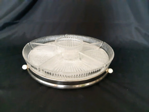 Vintage Glass and Chrome  Lazy Susan Condiment  Tary