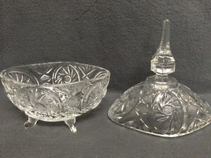 Collectible Antique Crystal Pinwheel Covered Candy Dish London Ontario image 6