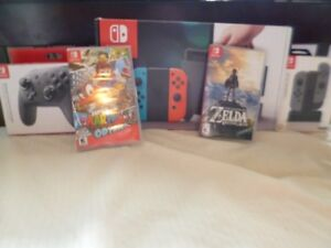 nintendo switch with games and acsesorries