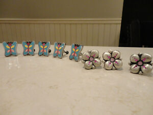 Set of 4 Plus set of 3 Heavy Pewter Cute Dresser or Closet Knobs