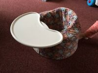 Bumbo baby seat with tray and owl cover
