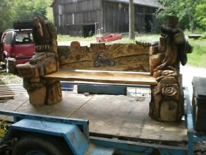 Chainsawed Art;  Benchs, sculptures and more