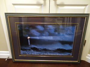 "Large 43""x31"" Framed art Nautical Print ""Lighthouse In A Storm"""
