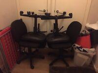 4 Black Swivel Office Chairs