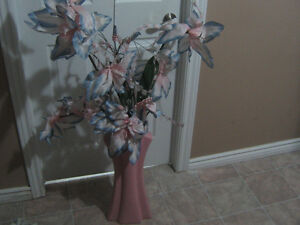 PINK VASE WITH NICE FLOWERS IN GOOD CONDITION