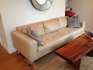 Genuine Nubuck (Suede) Leather Couch - Mid Century Modern